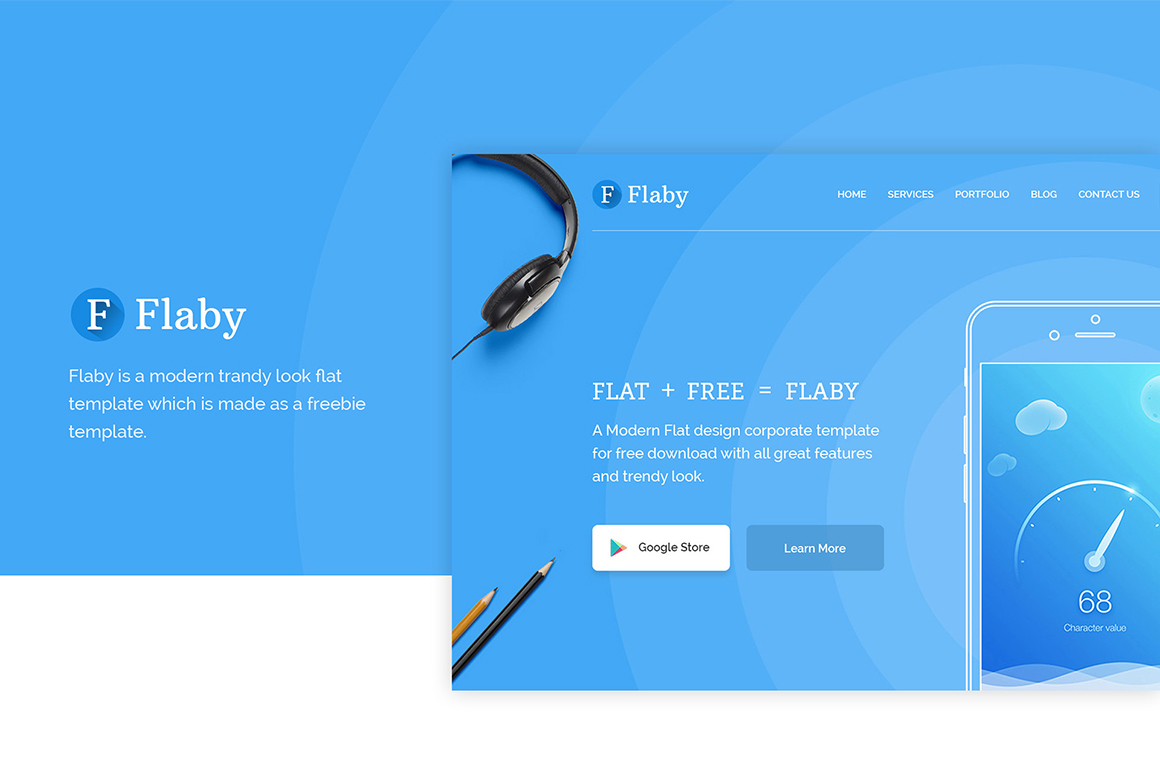 Flaby: A Free PSD Flat Landing Page
