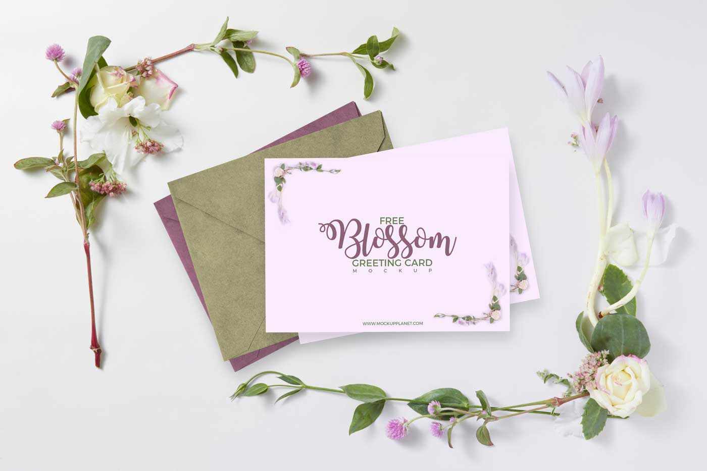Blossom Greeting Card Free Mockup