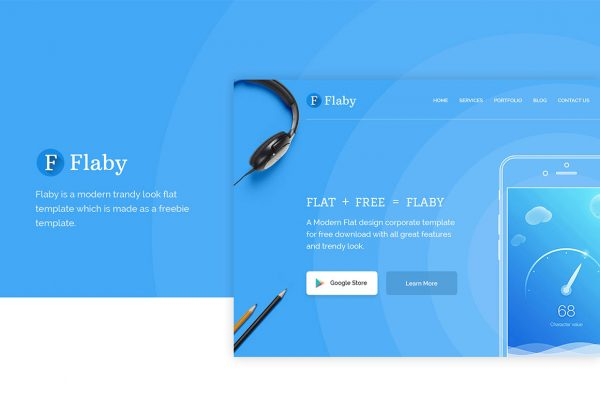 Flaby-a-free-psd-flat-landing-page