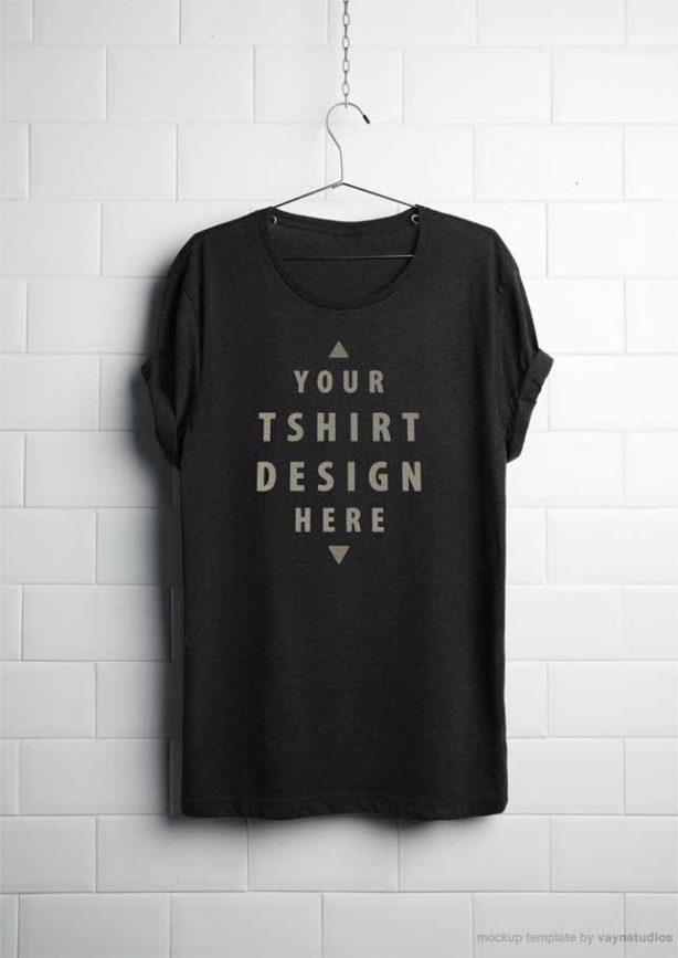 Realistic Hanging T-Shirt Free PSD Mockup