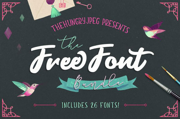 the hungry jpeg free font bundle preview