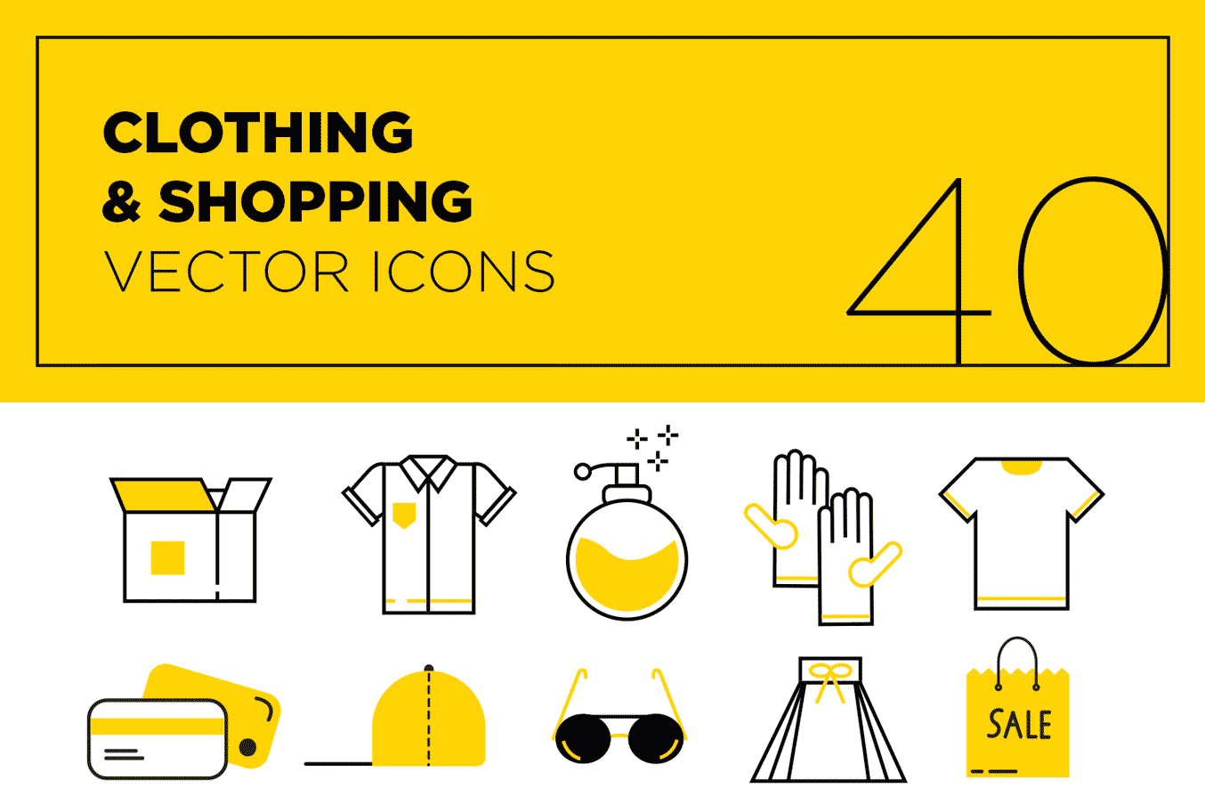 40 Clothing And Shopping Vector Icons