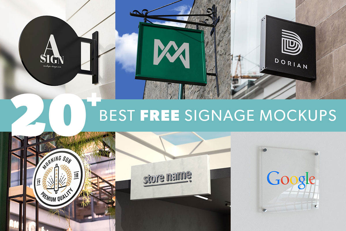 20+ Best Free Signage Mockups For Indoors And Outdoors