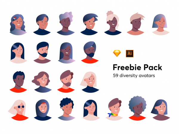 Diversity-avatar-freebie-pack-png