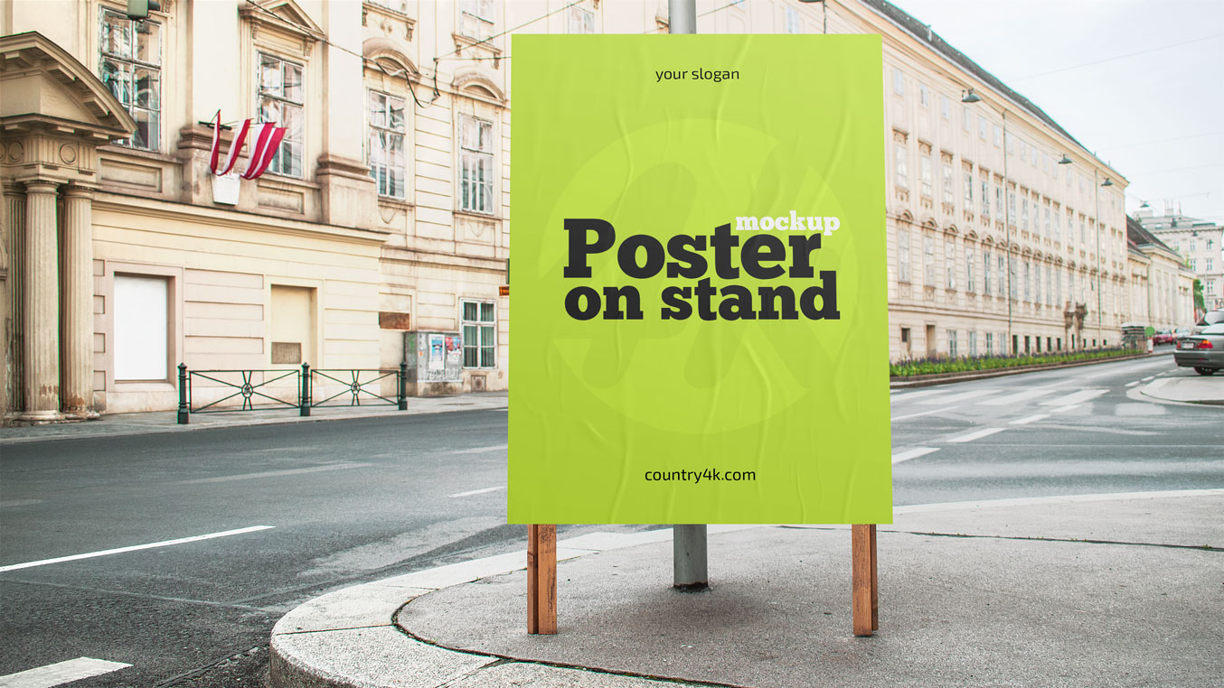 Free Street Sidewalk Poster On Stand Mockup