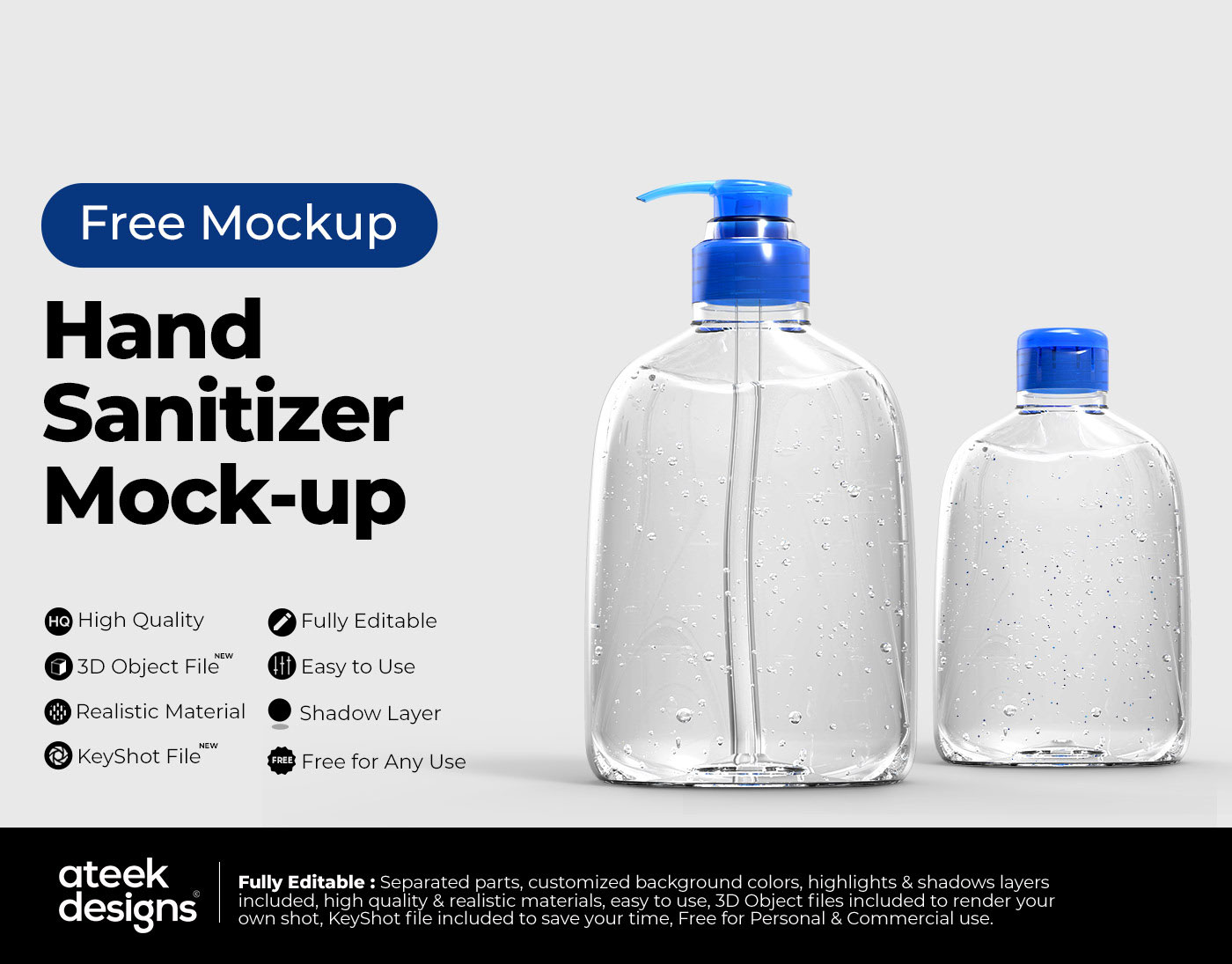 Hand Sanitizer Bottle Free Mockup